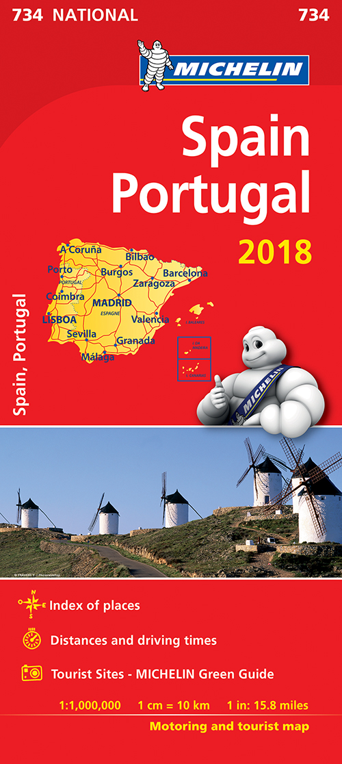 Spain & Portugal 2018, Michelin National Map 734