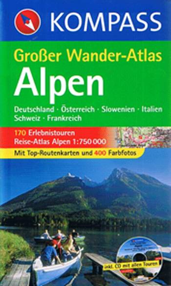 Alpen, Kompass Grosser Wander-Atlas 604(med CD-Rom) 1:750.000